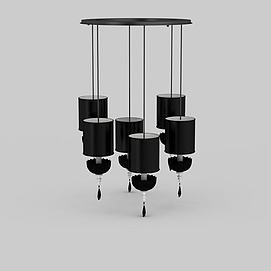 3d时尚<font class='myIsRed'>灯笼</font>造型黑色装饰吊灯模型
