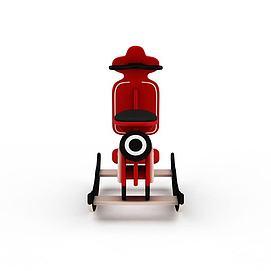 3d儿童玩具红色木马车模型