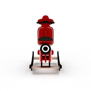 儿童玩具红色木马车3d模型
