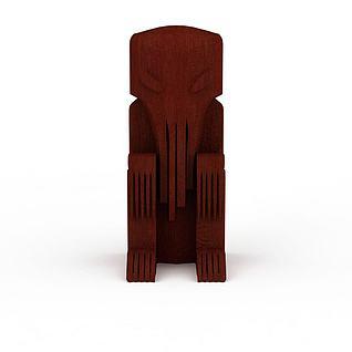神象木雕3d模型