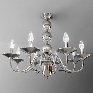 现代不锈钢烛台式吊灯模型