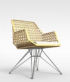 时尚不锈钢软座<font class='myIsRed'>编织藤椅</font>3d模型
