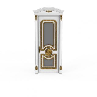 欧式豪华白色雕金花实木门3d模型