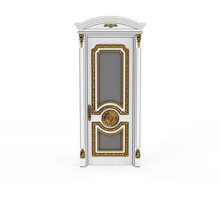 欧式豪华白色雕金花实木门3d模型3d模型
