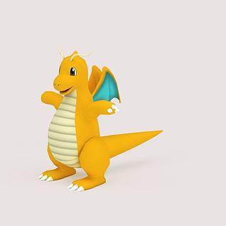 Dragonite口袋妖怪3D模型