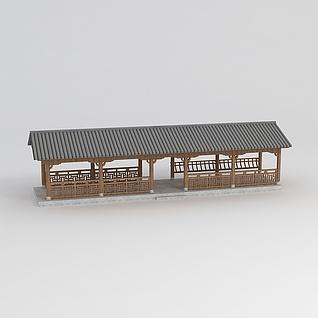 中式廊架3d模型