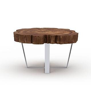 木桩桌3d模型