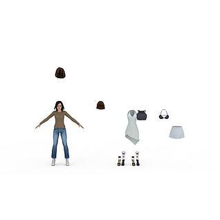 年轻女人及配饰3d模型3d模型