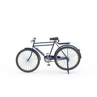 老式28自行车3d模型