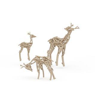鹿雕塑3d模型