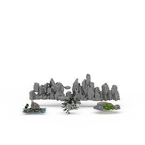3d园林<font class='myIsRed'>假山</font>石头模型