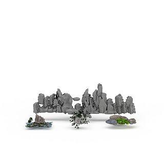 园林假山<font class='myIsRed'>石头</font>3d模型