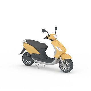 黄色电动摩托车3d模型