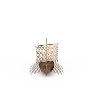 实木帆船3d模型