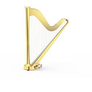 高端金色竖琴3d模型