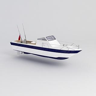 黑白拼色轮船3d模型