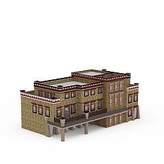 藏族民居房屋建筑楼模型3d模型