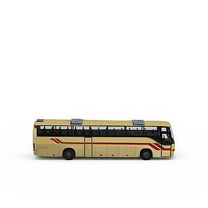 3d黄色大巴车模型