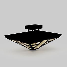 黑色中式吸顶灯模型