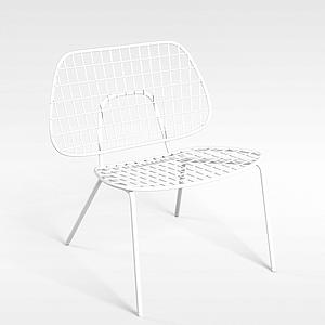 3d简约白色金属藤椅模型