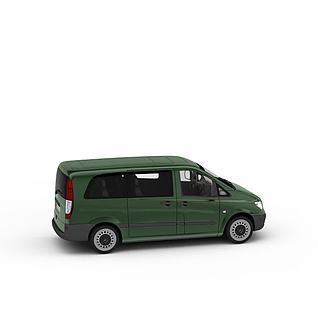 绿皮面包车3d模型