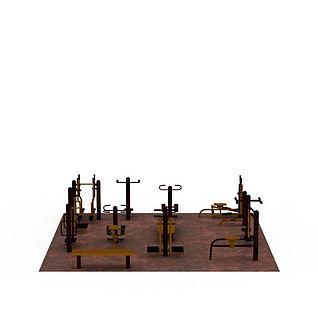 小区健身器材套装3d模型