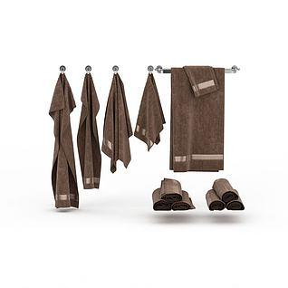 棕色毛巾组合3d模型