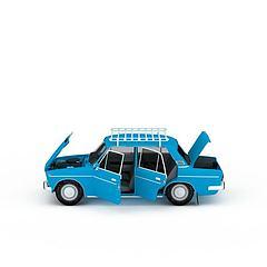 蓝色运货大卡车3D模型3d模型