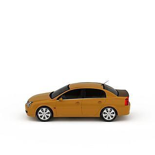 现代姜黄色小汽车3d模型3d模型