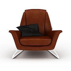 精品棕色皮沙发休闲椅3D模型3d模型
