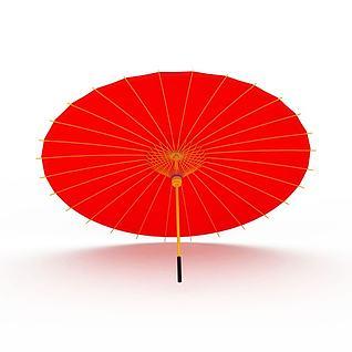 红色纸伞3d模型