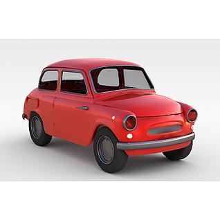 红色小汽车3d模型