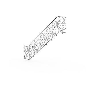 不銹鋼樓梯雕花扶手模型3d模型