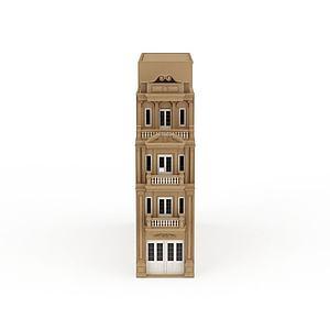 欧式四层洋楼建筑模型3d模型