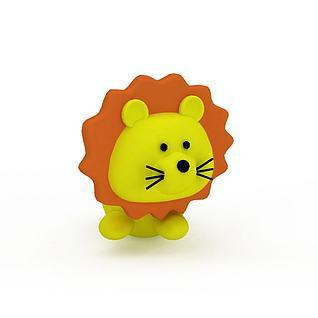 可爱黄色玩具小狮子3d模型