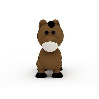 棕色玩具小马3d模型