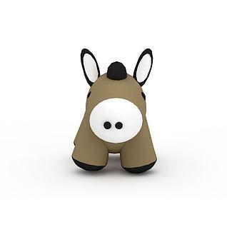 棕色玩具小毛驴3d模型3d模型