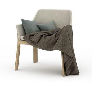 休閑淺灰色座椅模型