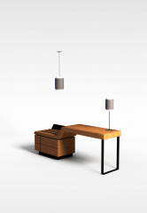 简约实木书桌办公桌模型3d模型