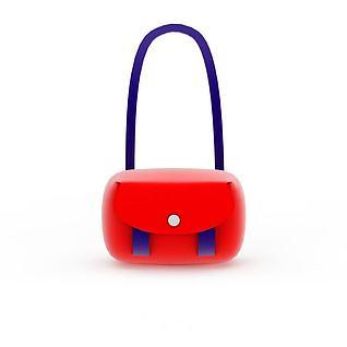 精美红色女士挎包3d模型