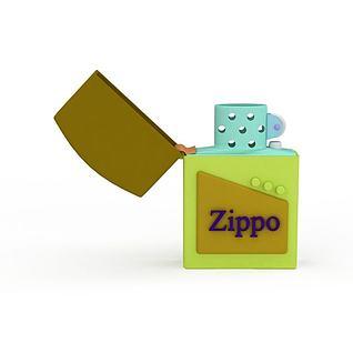 精品zippo拼色打火机3d模型