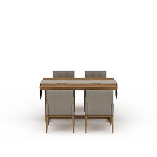 现代简约实木餐桌餐椅组合3d模型