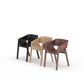 多色木纹手扶凳子3d模型