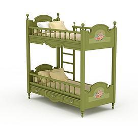 简欧实木儿童上下床3d模型
