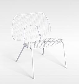 后现代白色铁艺椅子3d模型