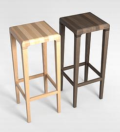实木高脚咖啡方凳3d模型