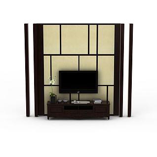 简约中式电视背景墙3d模型