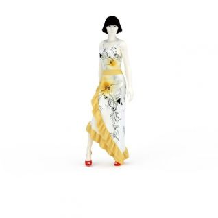 现代裙装女模特3D模型