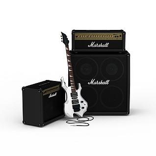 音乐设备音响吉他3d模型