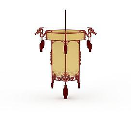 精美红色中式花灯吊灯3d模型